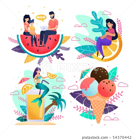 Metaphor Vacation and Rest Advertisement Flat Set 54370442