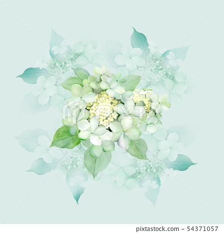 美麗的水彩繡球花 54371057