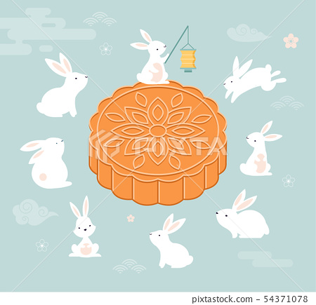 Mid Autumn Festival. Chuseok, Chinese wording translation Mid Autumn. Vector banner, background and 54371078