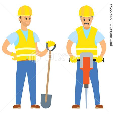 Repairmen with Shovel and Jackhammer, Work Vector 54372253