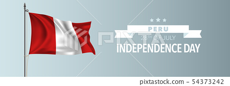 Peru happy independence day greeting card, banner 54373242