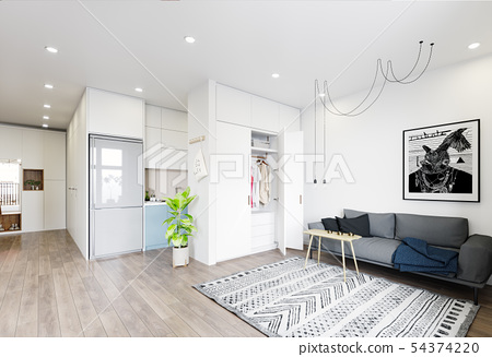 modern  living interior design. 54374220