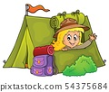 Scout girl in tent theme 1 54375684