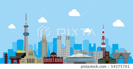 東京都市風景地標大廈導航背景例證 54375781