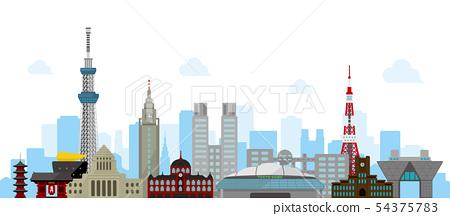 도쿄 거리 랜드 마크 빌딩 벡터 배경 일러스트 54375783