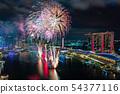 新加坡滨海湾NDP排练夜视图和烟花 54377116