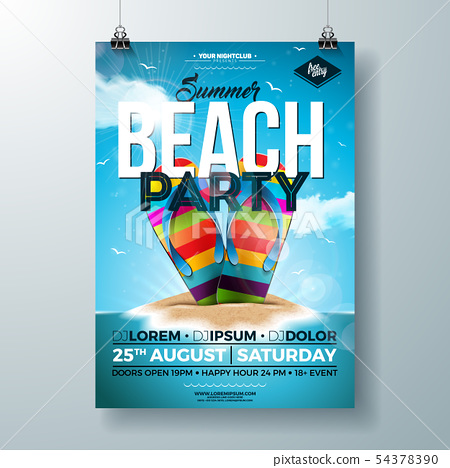 Vector Summer Party Flyer Design with Colorful Flip-Flop and Tropical Island on Ocean Blue 54378390
