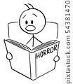 Vector Cartoon of Frightened Man Reading Scary Horror Book 54381470