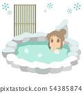 ภาพประกอบว่าผู้หญิงคนหนึ่งกำลังเข้าสู่น้ำพุร้อนในฤดูหนาว 54385874