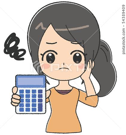 女計算器擔心 54389409