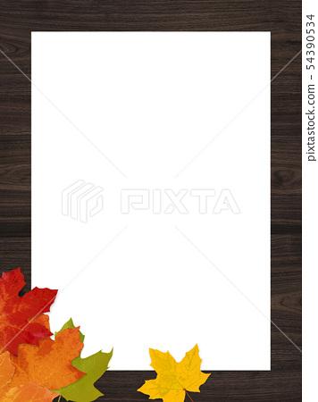 배경 - 가을 - 우드 - 낙엽 - 빈티지 - 프레임 54390534