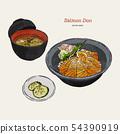 salmon donburi set, hand draw sketch vector. 54390919