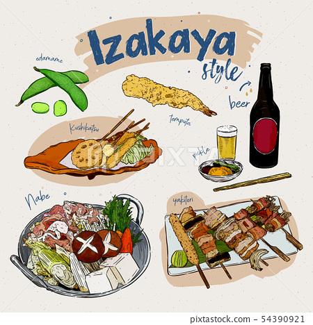 Japanese food elements, Izakaya style. hand draw 54390921