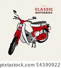 Vintage motorbike. hand draw sketch vector. 54390922