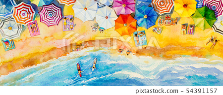 Painting watercolor seascape top view colorful of 54391157