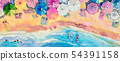 Painting watercolor seascape top view colorful of 54391158