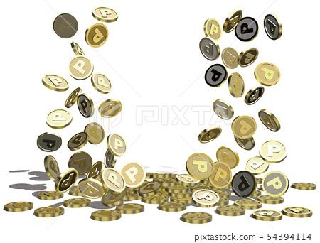 벡터 일러스트 디자인 CG ai 기호 동전 포인트 내리는 쌓이는 모인다 업 54394114