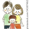 가족 - 부모 - 미소 - 수채화 54397462