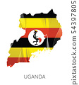Map of Uganda with an official flag. Illustration 54397805