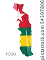 Map of Togo with national flag. Vector 54397806