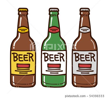 啤酒瓶3類型手寫的插圖樣式 54398333