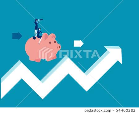 Teamwork riding piggy bank on arrow sign. Concept 54400282