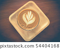 Cup of latte or cappuccino coffee with latte art 54404168