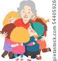 Senior Woman Kids Group Hug Illustration 54405926