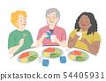 Senior Woman Eat Lunch Illustration 54405931