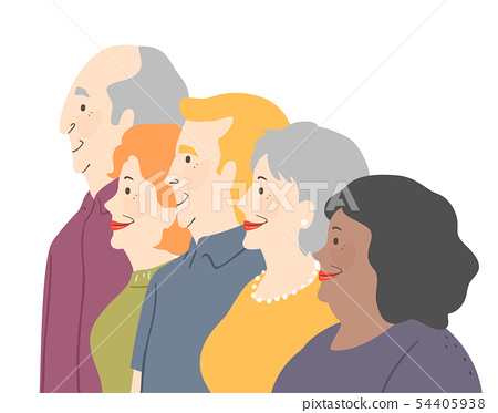 Seniors Side View Illustration 54405938