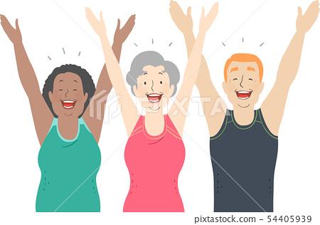 Seniors Laughter Yoga Illustration 54405939
