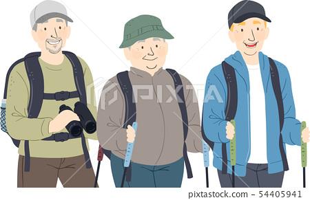 Seniors Man Hike Illustration 54405941