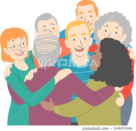Seniors Group Hug Illustration 54405944