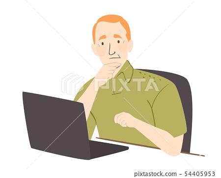 Senior Man Gadget Clueless Illustration 54405953