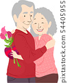 Senior Couple Valentines Hug Flowers Chocolates 54405955