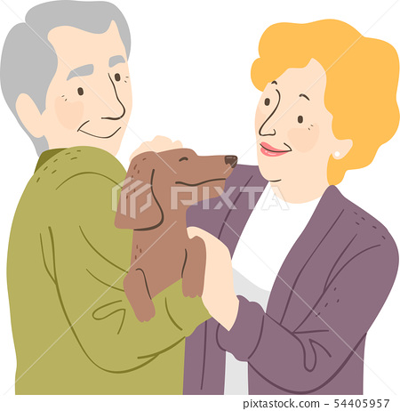 Senior Couple Pet Dog Illustration 54405957