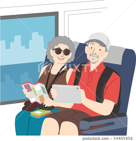 Senior Couple Tour Bus Illustration 54405958