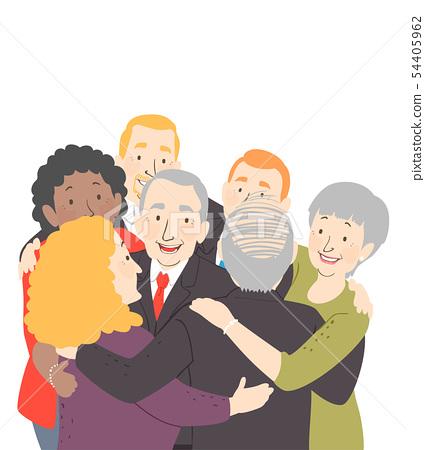 Senior Group Hug Business 54405962