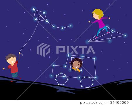 Stickman Kids Asterism Play Illustration 54406000