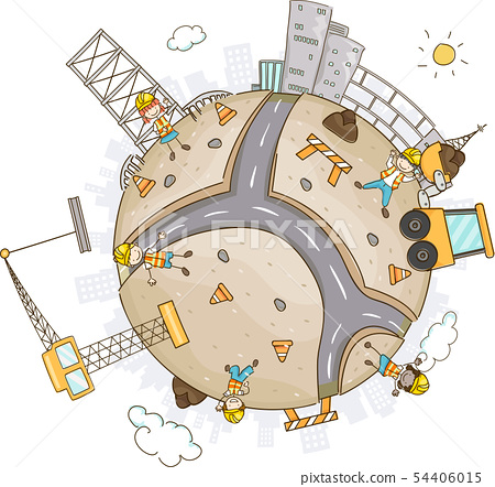 Stickman Kids Construction World Illustration 54406015