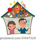 患有家庭暴力的中年夫婦 54407329