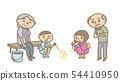 여름 불꽃 놀이를 즐길 조부모와 아이 배경 없음 54410950