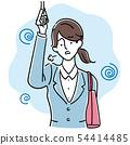 在通勤火車(手繪風格)感覺壓力的西裝的年輕女子 54414485