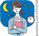 工作到深夜的一套衣服的少婦(手拉的樣式) 54414599