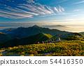 Mountain climbers who go along the Kitadake Pass line in the morning and views of Kaikomagatake and Yatsugatake 54416350