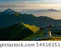 Mountain climbers who go along the Kitadake Pass line in the morning and views of Kaikomagatake and Yatsugatake 54416351