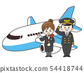 Pilot man and plane with CA woman and plane 54418744
