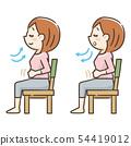 의자에 앉아 심호흡을하는 젊은 여성 54419012