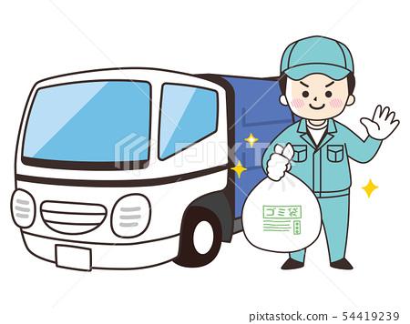 垃圾清潔人和垃圾車 54419239