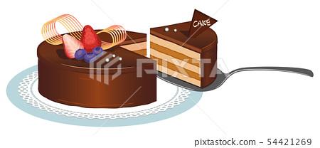 Whole cake (chocolate) _2 _ cut cake 54421269